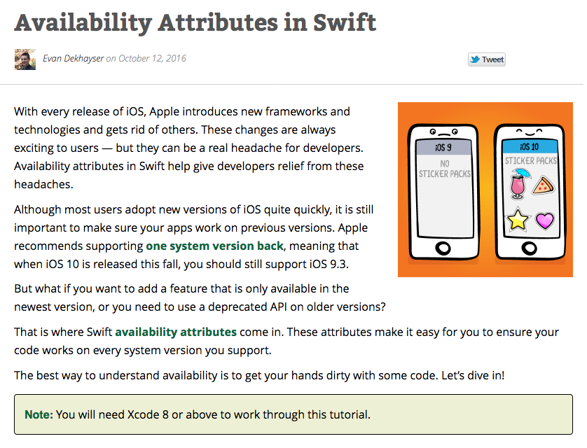 The tutorial on availability attributes in iOS (raywenderlich.com)